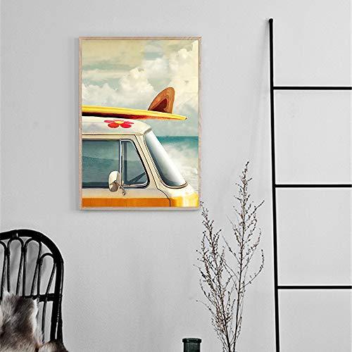SADHAF Moderne Hausdekoration Landschaftsplakat und Surf Street Bus Leinwand Malerei Home Decoration Dekoration A2 40x50cm