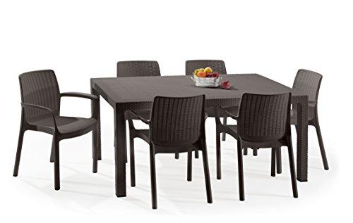 Keter - Set de mobiliario Melody (mesa + 6 sillas), color marrón