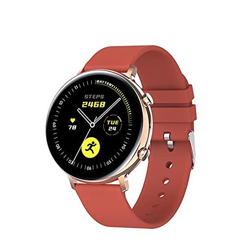 Reloj inteligente Bluetooth llamada impermeable Smartwatch fitness Trackers con monitor de frecuencia cardíaca para hombres y mujeres para iPhone Android teléfono (color: rojo)