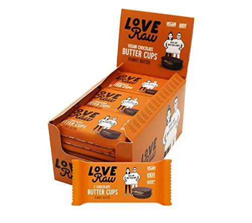 LoveRaw Vegan Dark Chocolate Peanut Butter Cups-Vegan Chocolates- Peanut Butter, Full Case 18 x 34g Packs (2 Cups Per Pack) No Palm Oil, Nothing Artificial, Vegan Snack, Vegan Treat Box…