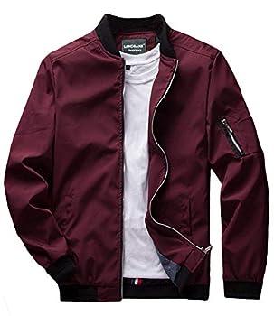 sandbank Men s Slim Fit Lightweight Softshell Flight Bomber Jacket Coat  US M = Asian Tag 3XL Wine Red #2