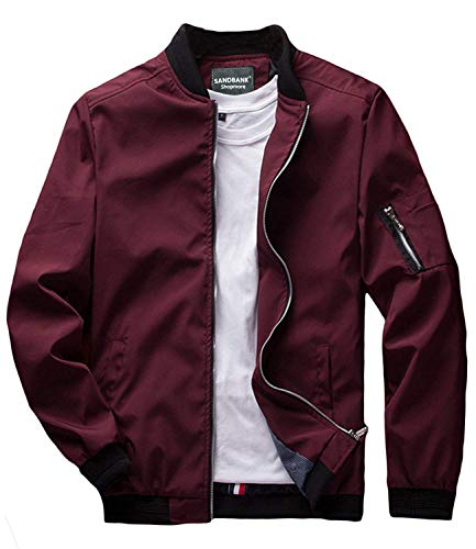 sandbank Men's Slim Fit Lightweight Softshell Flight Bomber Jacket Coat (US M = Asian Tag 3XL, Wine Red #2)