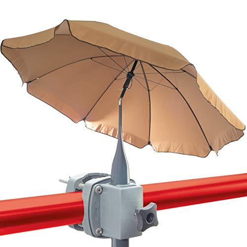 Set de Sombrilla para balcón + Soporte para sombrilla - Sombra y protección solar para balcones pequeños - Set completo de sombrilla redonda y soporte para sombrilla barandilla de balcón