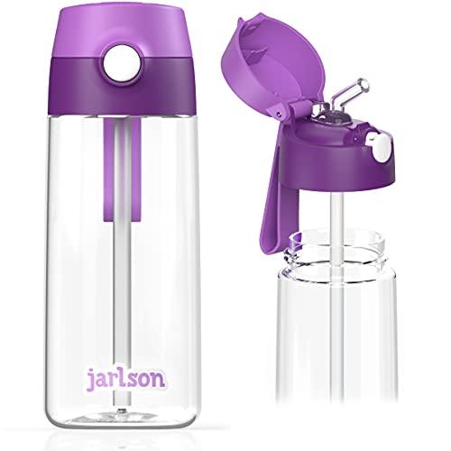 JARLSON Borraccia Bambini, Bottiglia 500 ml, Senza BPA, Bottiglia Acqua con Cannuccia, per la scuola e l'asilo, realizzato in plastica di alta qualità (viola)