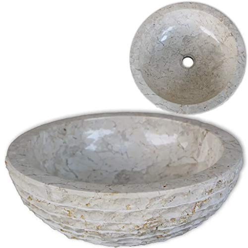 GOTOTOP Lavabo sobre Encimera de Piedra Natural Color Crema, Lavabo de Mármol Redondo para baño 40 x 15 cm