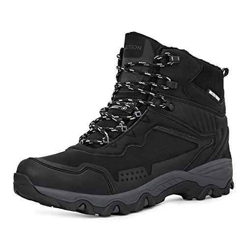 GRITION Botas de montaña para Hombre Moto Botas Trekking de Hombre de Nieve Senderismo Impermeables Deportes Trekking Zapatos Invierno,Zapatillas de Senderismo para Hombre Negro gris 43 EU