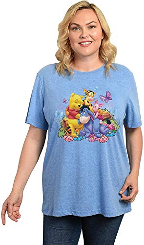 Disney Womens Winnie The Pooh Plus Size T-Shirt Eeyore Piglet Tigger (Blue, 1X)