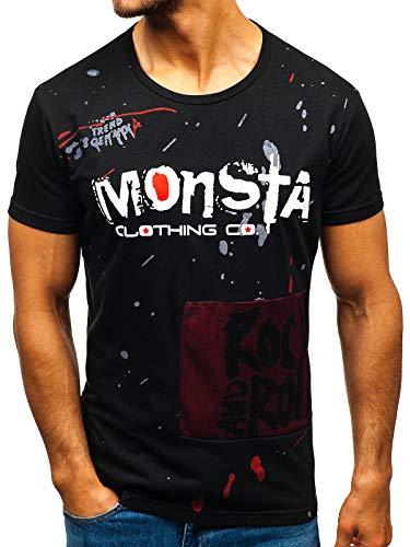 BOLF Hombre Camiseta de Manga Corta Escote Redondo Camiseta de Algodón Estampada Crew Neck Fitness Entrenamiento Estilo Diario J.Style KS1834 Negro L [3C3]