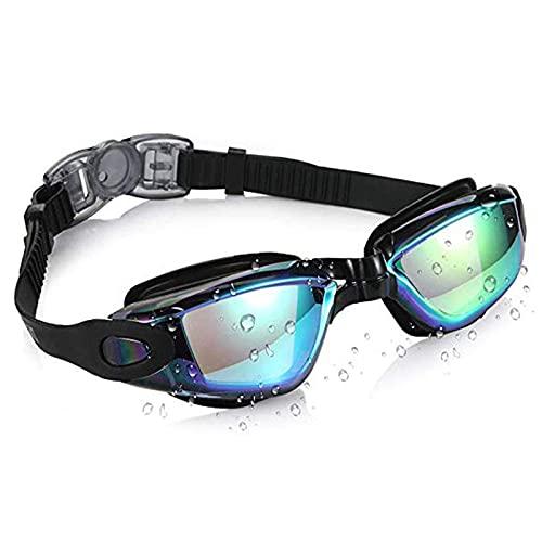 siqiwl Gafas de Natación Anti-Fog Anti-Fugas UV Protector Soft Silicone Prescripción Gafas de natación para Hombres Adultos Mujeres Niños (Color : Black)