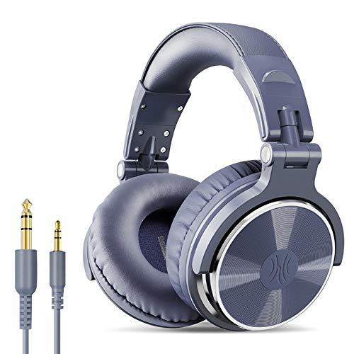 Wired Professional Studio Pro DJ Auriculares con micrófono sobre oído HiFi Monitor de música Auricular Auricular para PC del teléfono Standard-Purple