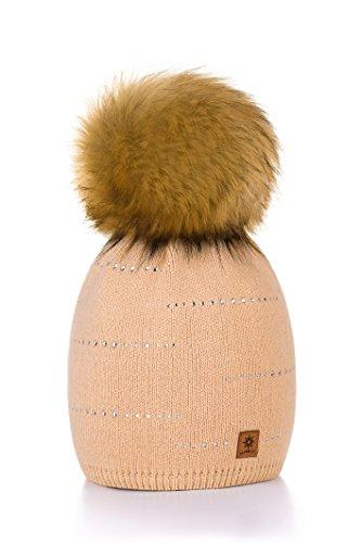 Morefaz - Gorro de lana para mujer, con pequeños cristales y un gran pompón en la parte superior, ideal para el invierno, la práctica de esquí y snowboard