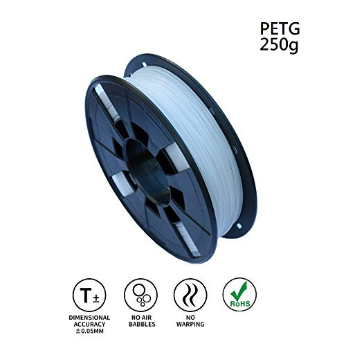 LEE FUNG 1.75mm PETG 3D Printing Filament, Dimensional Accuracy +/- 0.05mm, 0.55 LBS (0.25KG) Spool,1.75 mm 3D Filament for Most 3D Printer & 3D Printing Pen (White)