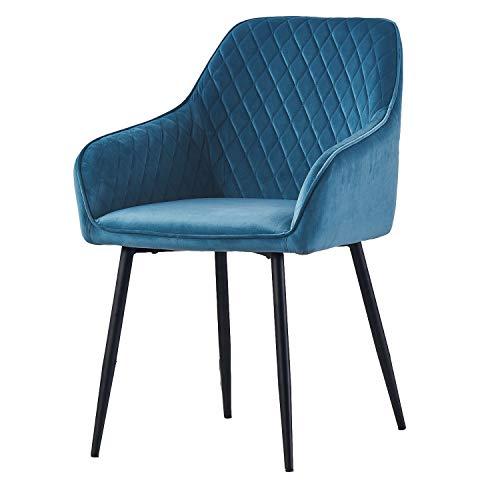 AINPECCA Dining chair Teal Velvet Armchair with Armrest & Backrest Upholstered seat with Black Metal legs (Teal Velvet, 1)