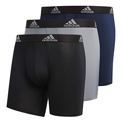 adidas Men's Performance Boxer Briefs Underwear (3-Pack), Black/Black Grey/Black Collegiate Navy/Black, Medium