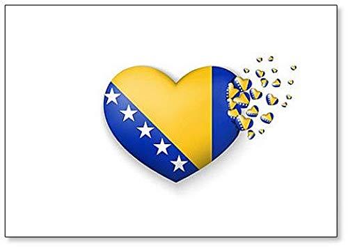 Kühlschrankmagnet mit Nationalflagge von Bosnien & Herzegowina in Herzform