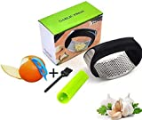 Simple Nation Garlic/Ginger Crusher, Food Grade Steel Rocker with Silicon Peeler Cleaning Brush