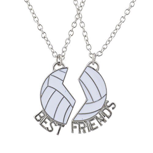 Lux Accessories Silver Tone Best Friends Volleyball Pendant Necklace Set (2pc)
