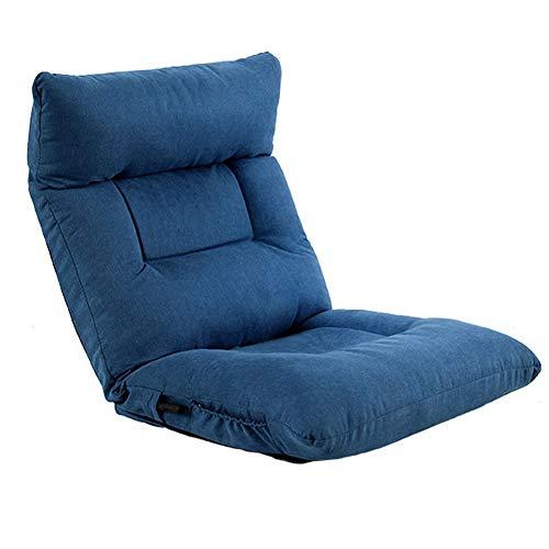 ZWW Sofá de piso para juegos ajustable para adultos y niños, asiento acolchado plegable de 42 posiciones con respaldo, sofá reclinable y balancín, color azul