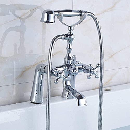 Sistema de ducha Teléfono, tipo plataforma, montado en el baño, grifos mezcladores con doble mango con ducha de mano, doble agujero para bañera grifo grúa, latón