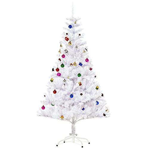 HOMCOM Albero abete di Natale artificiale abete in pvc 150 cm / 180cm con supporto bianco foltissimo (180cm)