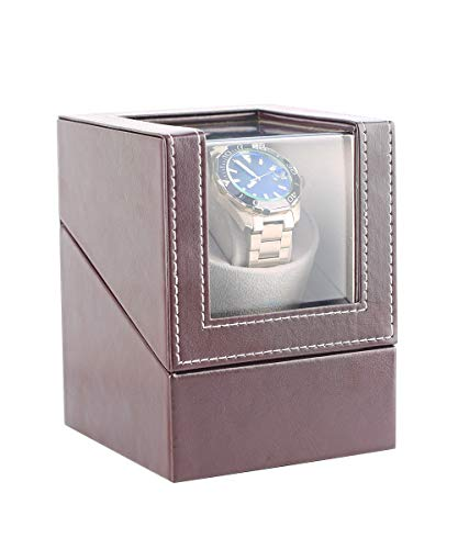 Automatic Watch Winder Box for 1 Wristwatch Waterproof Leather Watches Winding Case Ultra-Quiet Rotation TPD: 650-1850 Turns Per Day (Brown)