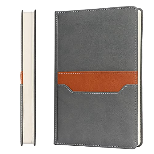 Skycase A5 Notebook,Hardcover Executive Notebooks,120 Sheets/240 Pages Journal Book with Card holders for Meeting , Work, Study and Travel,Grey