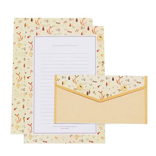 10 Stück Umschlag Kreative Schöne Briefpapier Blumen nette Karikatur-Set-Visitenkarten Kleine frische Geschenke (Color : Yellow)