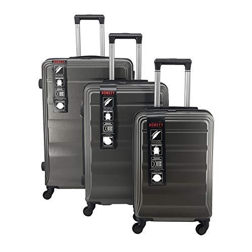 Homefy Juego de Maletas de Viaje Rigidas ABS - 4 Ruedas Silenciosas PU 360º - Maleta de Cabina 20' + Mediana 24' + Grande 28'