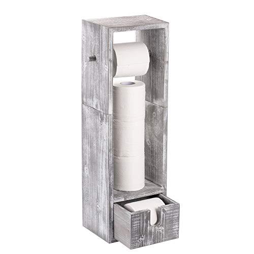 Toilettenpapierhalter aus Holz, Badezimmer Stehend Papierrollenhalter mit Schubladen für Badezimmer, Antikweiß