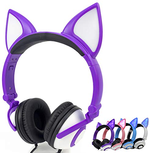 LIMSON Headphones Wired Stereo Over-Head LED Glowing Cat Headphones Noise Isolating for Girls Teens Adults iPad Cell Phones PC Tablet Computer (Purple)