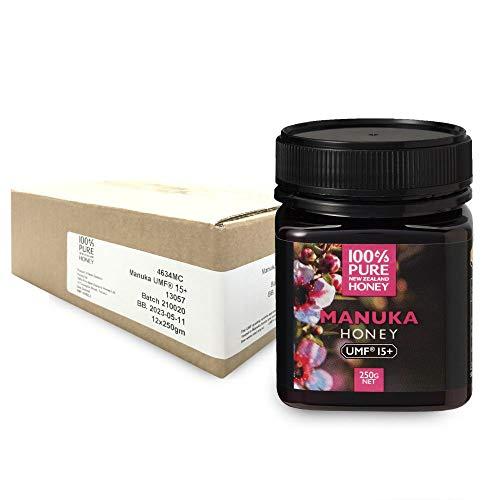 100%PURE NEWZEALAND HONEY MANUKA UMF15+ (MGO514mg/kg)マヌカハニー 250g 12個セット【はちみつ/ニュージーランド産/直輸入品/抗菌物質/保存料不使用/健康食品/マグナス】