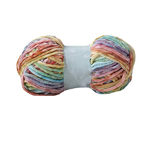 Clisil 300gram 196yardx3 Gradient Velvet Yarn Crochet Knitting Dyed Rainbow Velvet Headband Hat Scarf Sweater Pillow Blanket Wrap DIY Soft Luxury Velvet Chenille Yarn Craft Yarn