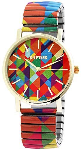 Raptor Damen-Uhr Zugband Edelstahl Motiv Bunt Print Analog Quartz RA10205 (orange/blau/grün/lila)