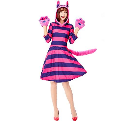 Kleding Kat Pak Roze Gestreepte Halloween Dier Jurk Halloween Fairy Tales Leuke Paars Gestreepte Kat Cosplay Uniform Pak Jurk