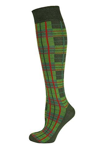 Mysocks Unisex Knee High Long Socks,Check Green Khaki,8-11
