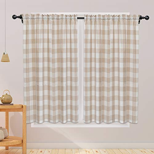 NATUS WEAVER Buffalo Check Curtains 54 inches Long Cotton Basement Beige and White Gingham Plaid Kitchen Window Curtain Panels Living Room Checker Drapes Bedroom Rod Pocket Window Treatment 2 Panels