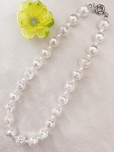 Damen Halskette aus knisternd Bergkristall Perlen in Weiß, Halskette aus Edelstein Perlen, Geschenk für Mama Frau Freundin