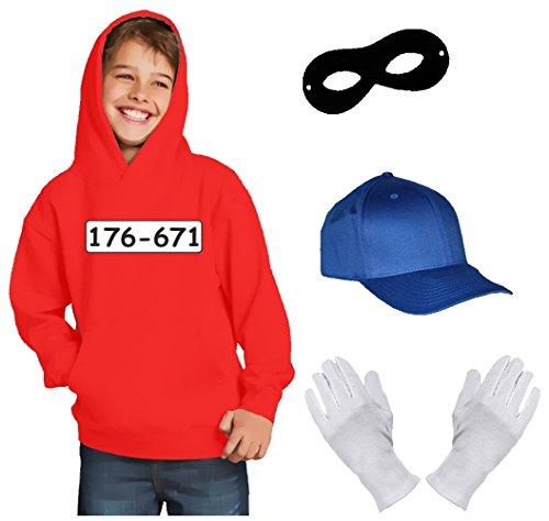 Coole-Fun-T-Shirts Kinder Set Gangster Bande KOSTÜM - Fasching - Karneval - Sweatshirt mit Kapuze, MÜTZE, Maske + Handschuhe - rot Gr.128