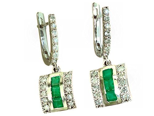 1.96ct Colombiano smeraldo e diamante orecchini in oro bianco 14K