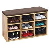 RICOO WM035-EW-B Banco Zapatero 79x49x30 Armario Interior con Asiento Organizador Zapatos Mueble recibidor Perchero Entrada Madera Roble marrón