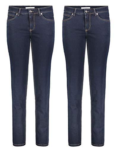MAC Melanie - 2er Pack Damen Jeans in Verschiedene Farbvarianten, Größe:W46/L30, Farbe:D801