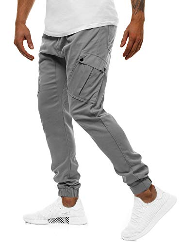 OZONEE Herren Chino Hose Chinos Lang Stoffhose Jogger Chinohose Pants Cargohose Cargo Freizeithose Arbeitshose Sporthose Slim Fit Regular Casual Stretch Taschen A/0853 GRAU S