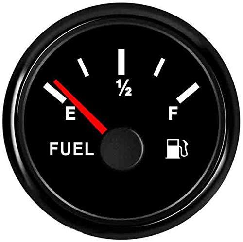Geloo Auto Digital Kraftstoffstandanzeige 52mm 0~190 Ohm E-1/2-F für Motorrad Auto Boot 12V 24V mit roter Hintergrundbeleuchtung IP67 wasserdicht