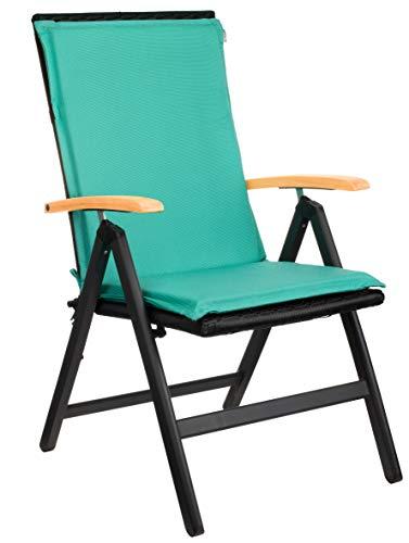 Brandsseller Garten-Stuhlauflage ca. 50 x 110 cm Hochlehner Auflage für Stühle Türkis