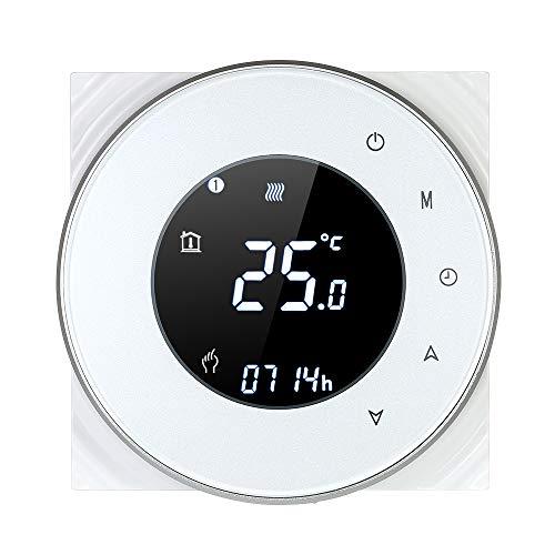 Decdeal Raumthermostat Gaskesselheizung WiFi Runde LCD Touchscreen Programmierbare Thermostat mit Hintergrundbeleuchtung 0.5 ° C Genauigkeit Sprachsteuerung App Fernbedienung