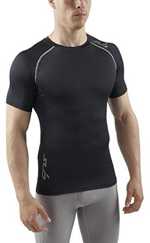 Sub Sports Herren Longsleeve, Stay Cool-Technologie, bleibt kühl, semi Kompression, kurzärmlig schwarz schwarz S