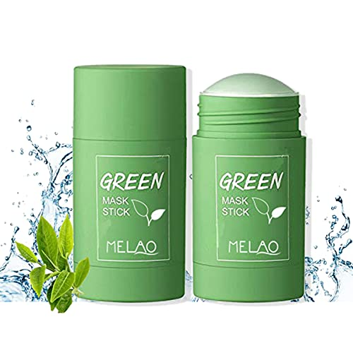 Green Tea Cleansing Mask For Blackheads,Green Tea Mask Stick-Deep Clean Pores,Green Tea Purifying Clay Stick Mask,Poreless Deep Cleanse Mask Stick Women & Men (2PCS)