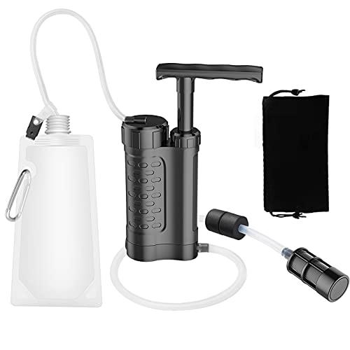 Shop-PEJ Sistema de filtración de Agua purificador de Agua con Filtro de Agua de 0.01 micrones Engranaje de Supervivencia de Emergencia al Aire Libre (Color : Black)