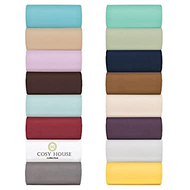 Cosy House Collection King Size Bed Sheets - Turquoise Luxury Sheet Set - Deep Pocket - Super Soft Hotel Bedding - Cool & Wrinkle Free - 1 Fitted, 1 Flat, 2 Pillow Cases - Teal King Sheets - 4 Piece