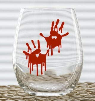 Vaso de vino con estampado de manos sangrientas, divertido vaso de vino de Navidad, 470 ml